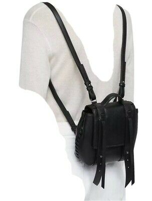 ALLSAINTS Fin Leather Mini Backpack in BLACK, Small Rucksack. NEW + TAGS.£178