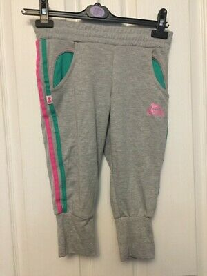 Bnwt Girls Stunning Lonsdale 3/4 Length Grey Pants Grey/Pink Size 7-8 Years 2 Po
