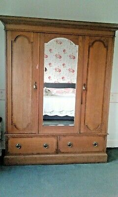 Lovely golden oak Arts and Craft double wardrode