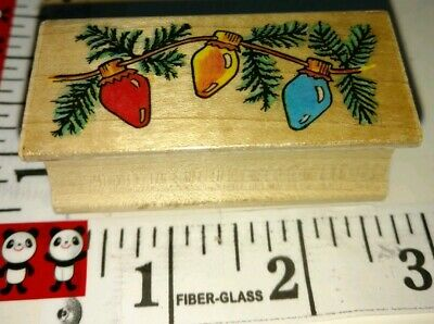 Holiday lights, all night media,907, wood rubber stamp