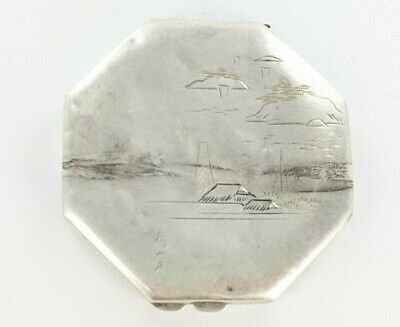 Vintage Japanese 950 Silver Etched Octagonal Compact