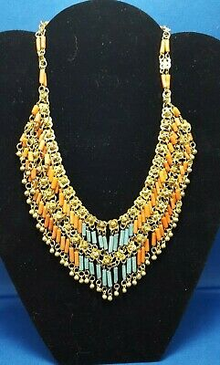 Antique Egyptian Faience Coral And Turquoise 4 Piece Set