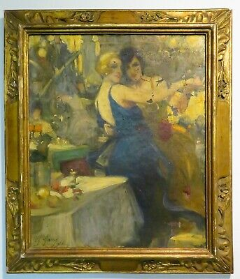 Antique 1920 Charley Garry Oil Painting, Signed Dated - Art Deco - Women Dancing