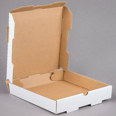 "(50-Pack) 10"" x 10"" x 1 3/4"" White Corrugated Plain Pizza / Bakery Box"