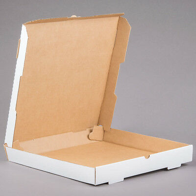 "(50-Pack) 14"" x 14"" x 1 3/4"" White Corrugated Plain Pizza / Bakery Box"