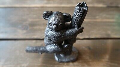 """PEWTER KOALA BEAR Handcrafted Paperweight RB Co Sculpture Tree Branch 3.75"""""""