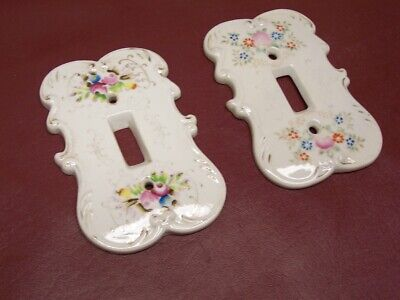 Pair (2) Very Vintage Ceramic Porcelain Light Switch Plates (marked on back)