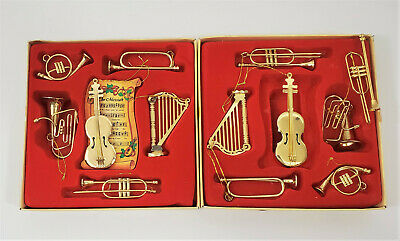 Christmas Tree Miniature Gold Plated /Brass Music Instrument Ornaments Lot of 13