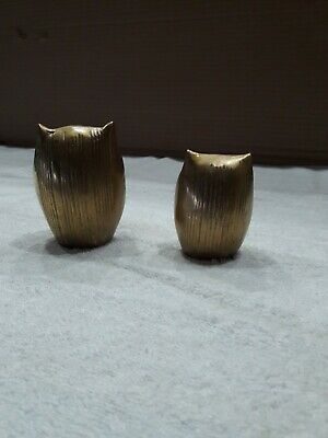 Solid Brass Vintage Antique Owls Set Of 2 Figurines  Statues Mid-Century