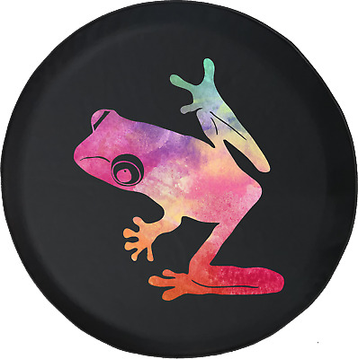 Gecko Tree Frog with Headphones Music Lover Spare Jeep Tire Cover