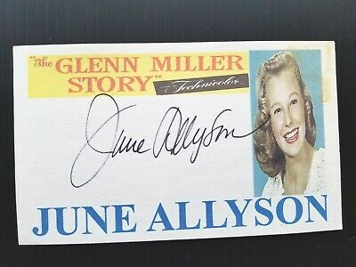 """The Glenn Miller Story"" June Allyson Autographed 3X5 Index Card B"