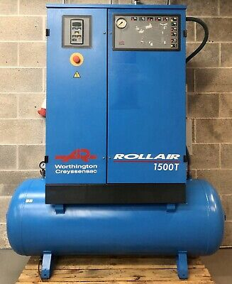 Worthington RLR1500T Receiver Mounted Rotary Screw Compressor With Dryer! 60Cfm!