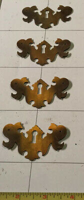 """Lot 4 Skeleton Key Hole Embellishments 2"""" X 1.5"""" Brass Plate Cover See Photos"""