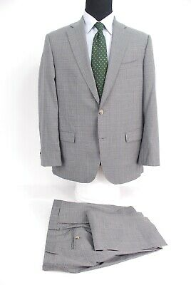 Jack Victor 2Btn Loro Piana Four Seasons Wool Suit Gray Blue Check Men's 44R