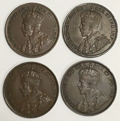 Lot of 4 ~ 1916 1917 1918 1919 Canada Large Cents George V (L948)