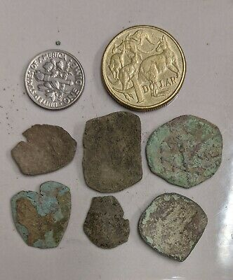 Six  Uncleaned As Found ANCIENT BYZANTINE Eastern Rome Coins (#L4249)