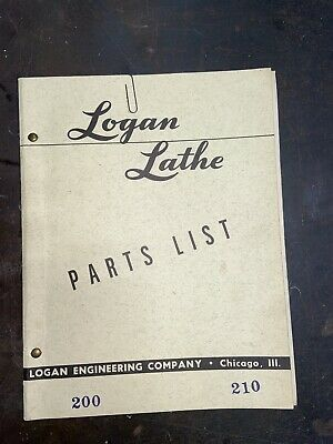 "LOGAN 1917 1922 11/""  Lathe Parts Manual 0456"