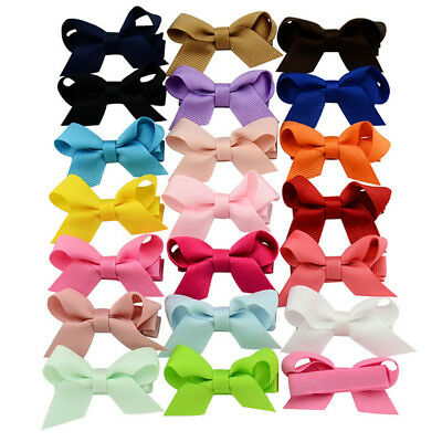 20PCS Baby Girls Hair Bows Boutique Alligator Clip Grosgrain Ribbon Hairpins LS