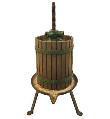 Antique French Country Green Cast Iron Grape~ Wine Press c. 1910 H 35in.