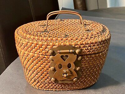 Antique Chinese Wicker Basket Fish Lock