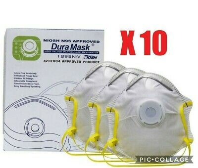 N95 Face Mask Anti Viral Virus Flu eBola SARS with Respirator Valve 10pcs