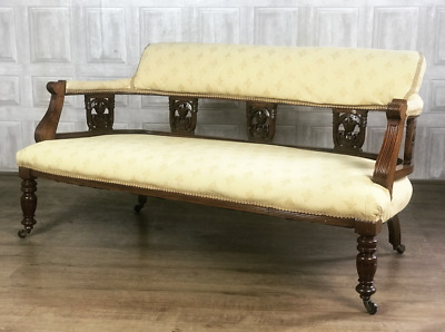 VICTORIAN 2 Seater Carved Mahogany Low Salon Sofa & New Fabric *£65 DELIVERY*