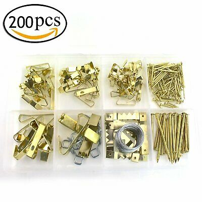 Nail Wall Hooks Fasteners wBox Picture Hanging Kit Photo Frame Hangers Wire Hot~