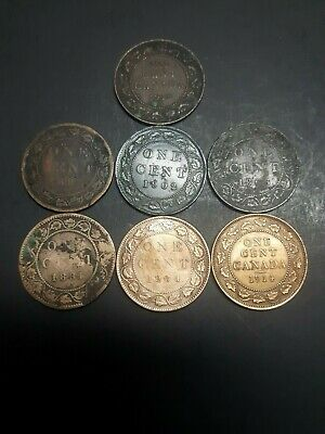 Lot of 7 Large 1 cent Canada 1881  1914  1904  1893  1902  1906 1918 dommaged