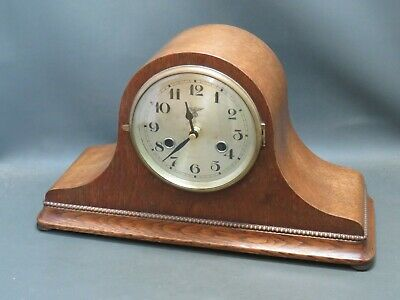 Vintage oak wooden mantle clock with battery quartz movement