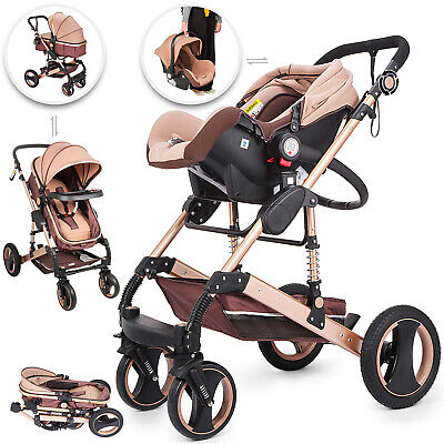 Baby Stroller 3 in 1 Buggy Foldable Pushchair 0-36 Month Travel Reclining Alloy