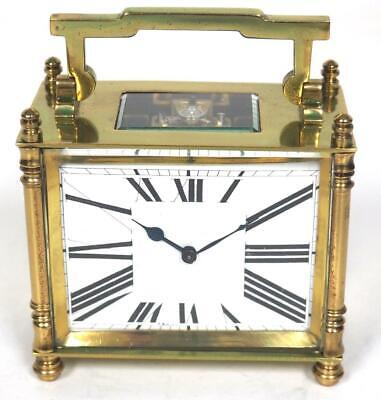 Antique French 8 Day Carriage Clock Brass Rectangle Case French Mantel Clock