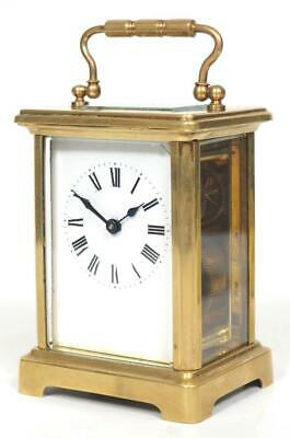 Antique French 8 Day Carriage Clock Brass Classical Cased French Mantel Clock
