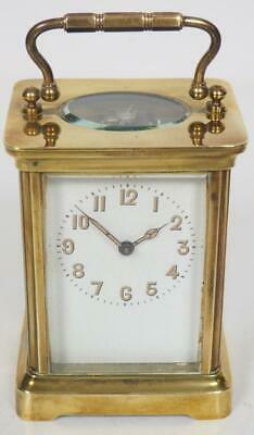 Antique French 8 Day Carriage Clock Brass Arabic Dial Cased French Mantel Clock
