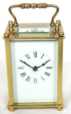 Antique French 8 Day Carriage Clock Brass Ball Finial Cased French Mantel Clock