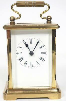 Vintage French 8 Day Carriage Clock Brass Beveled Edge Cased French Mantel Clock
