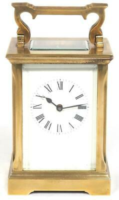 Antique French 8 Day Carriage Clock Brass Beveled Edge Cased French Mantel Clock