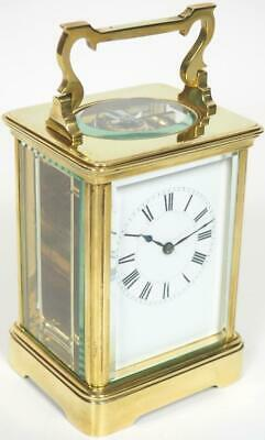 Big Antique French 8 Day Carriage Clock Brass Bevelled Cased French Mantel Clock