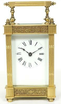 Antique French 8 Day Carriage Clock Brass Fret Work Cased French Mantel Clock