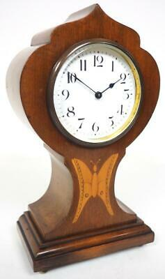 Incredible French 8 Day Mantel Clock Solid Mahogany Wood Tulip Top Mantle Clock
