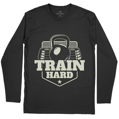 Train Hard Gym T-Shirt Work Out Train Hard Iron Workout Fitness Muscle No B365LS