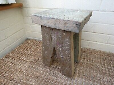 Small reclaimed wood side table / milking stool / plant stand, stable cladding