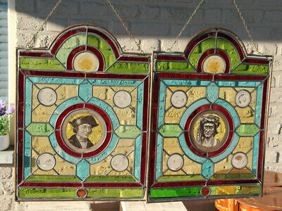 PAIR Flemish antique stained glass windows with medieval portraits signed struys