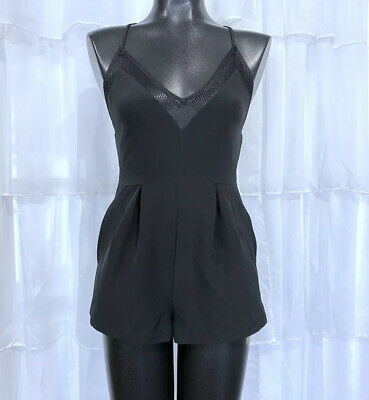 Small - KENDALL AND KYLIE Black Fishnet Mesh Contrast Black Romper