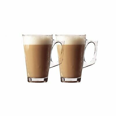 2 x Tea Cappuccino Glass Tassimo Coffee Cups Mugs Latte Glasses 240ml New