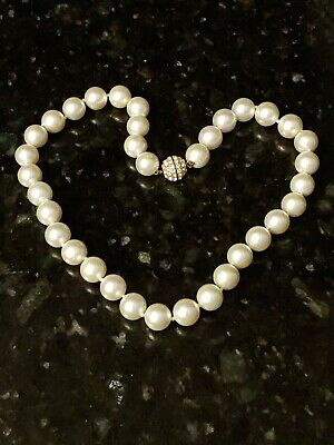 Pearlfection Cream/Ivory Pearl Necklace 19 Inch Strand 12mm