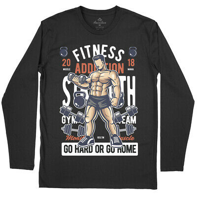 Fitness Addiction Gym T-Shirt Work Out Train Hard Iron Workout Muscle No C360LS