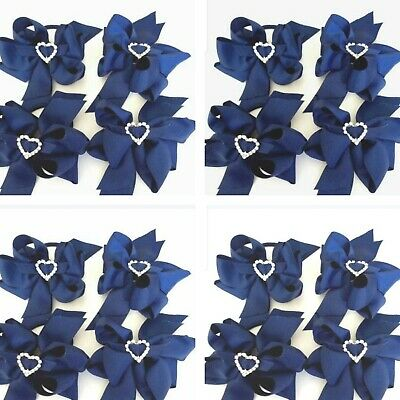 Handmade Navy Blue School Hair  Accessories Bobbles Or Hair Clips Sold in Pairs