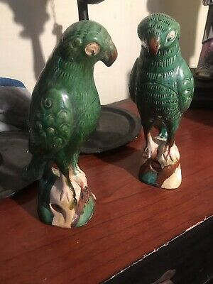 Antique Chinese Export Birds Parrots, Green Glaze Pottery, Qing Dynasty