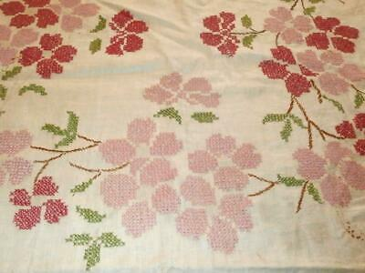 Vintage Hand Embroidered Linen Tablecloth W/Pink Flowers Winter Project/Cutter