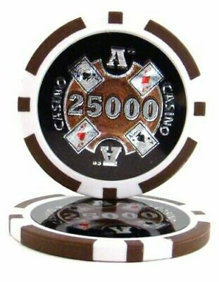NEW 100 Brown $25000 Poker Knights 13.5 Gram Clay Poker Chips Buy 3 Get 1 Free